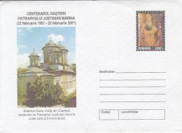 55876- BUCHAREST PRINCE RADU CHURCH, ARCHITECTURE, COVER STATIONERY, 2001, ROMANIA
