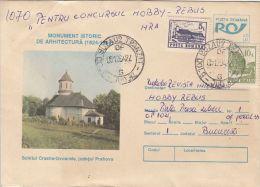 55877- CRASNA IZVOARELE HERMITAGE, CHURCH, ARCHITECTURE, COVER STATIONERY, 1994, ROMANIA