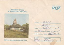 55878- CRASNA IZVOARELE HERMITAGE, CHURCH, ARCHITECTURE, COVER STATIONERY, 1994, ROMANIA