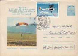 55909- PLANE, PARACHUTTING, COVER STATIONERY, SMARANDA BRAESCU SPECIAL POSTMARK, 1989, ROMANIA