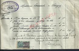 FACTURE DE 1921 E. POTENTIER ENTREPRENEUR DE FUMISTERIE À LAGNY : - Petits Métiers
