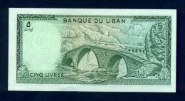 Banconota Libano 5 Livres 1964-86 FDS - Libano