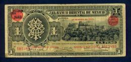 Banconota El Banco Orientale De Mexico - 1 Peso - 14/4/1914 - Messico