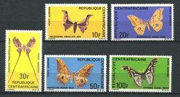 193 CENTRAFRICAINE (Rep) 1969 - Yvert 69/73 - Papillon -  Neuf ** (MNH) Sans Trace De Charniere
