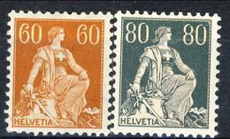 Svizzera 1916 - 22  N. 165A  C. 50 E N. 166A  C. 80 MNH Carta Goffrata, Centratura Perfetta Cat. € 110 - Nuovi