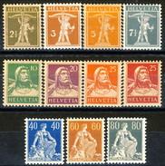 Svizzera 1916 - 22 Serietta N. 157 - 166 (11 Valori, Carta Ordinaria) MVLH Cat. € 180 - Svizzera