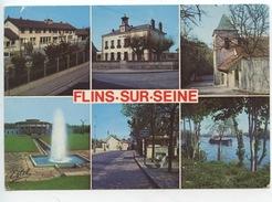 Flins Sur Seine : Groupe Scolaire R. Vassieux Mairie église Usine Des Eaux Bois Vincent Seine (péniche) - Flins Sur Seine