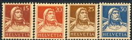 Svizzera 1924 - 28 N. 201A, 203A, 204A, 205A Carta Goffrata, Centrati MVLH (traccia Di Linguella Invisibile) Cat. € - Nuovi