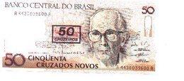Billete Brasil. 50 Cruzados Novos. Retimbre 50 Cruzeiros . Plancha. (ref. 6-723) - Brasil