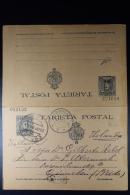 Spain: Tarjeta Postal  Postcard With Answer  Mi Nr  P37 Used 1909 Corunja To Brda Holland