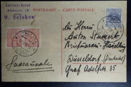 Estland Eesti Postcard Tallinn To Dusseldorf Germany Mixed Stamps 1 Pair 1920 - Estland