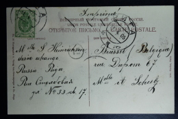 Letland / Latvia Postcard 1905 With Russian 2 K Stamp From Riga To Brussel Belgium - Lettland