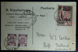 Letland / Latvia  Postcard 1920 Libau To Delft Holland - Lettland