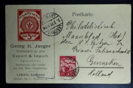 Letland / Latvia  Preprinted Company Postcard 1919 Libau To Ginneken Holland - Lettland