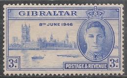 Gibraltar 1946. Scott #120 (M) King George VI And Parliament Buildings, London * - Gibraltar