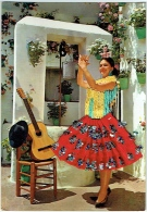 Carte Brodée. Espagne. Danseuse De Flamenco & Guitare. - Ricamate