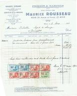 Facture : Mons. Monuments Funéraires. Maurice Rousseau. Timbres Fiscaux. 1934 - Bélgica