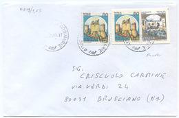 1999 FRODE CON RITAGLIO DI CARTOLINA POSTALE L. 750 + CASTELLI L. 50x2 BUSTA 16.2.99 TIMBRO ARRIVO OTTIMA QUALITÀ (A879) - 6. 1946-.. Repubblica