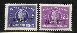 1949-52 Italia Italy Trieste A RECAPITO AUTORIZZATO Serie Di 2v. (4/5) MNH** - 7. Trieste