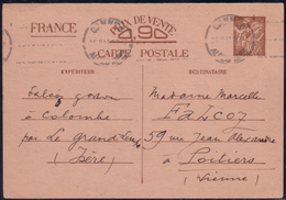Entier Postal 0,90 Carte Postale Interzones Iris Sans Valeur 1er Modèle Omec Flamme Caviardée Cannes 25.2.1941 - Poststempel (Briefe)