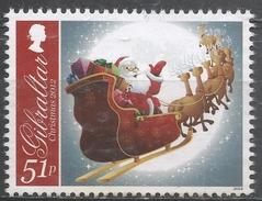 Gibraltar 2012. Scott #1362 (M) Christmas, Santa Claus In Flying Sleigh * - Gibraltar