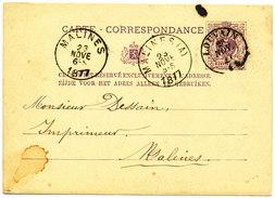 1877 CARTE CORRESPONDANCE TYPE OBP45 VAN LOUVAIN(DCa) NAAR MALINES(A) -> MALINES AANKOMSTSTEMPELS - Entiers Postaux