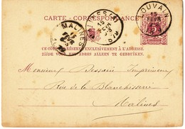 1879 CARTE CORRESPONDANCE TYPE OBP45 VAN LOUVAIN NAAR MALINES(A) -> MALINES AANKOMSTSTEMPELS - Entiers Postaux