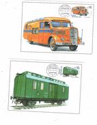 Czech Republic 2017 - Postal Bus And Wagon, Set Of 2 Cartes Maximum