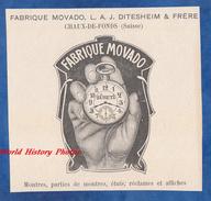 Publicité Ancienne - CHAUX De FONDS ( Suisse ) - Fabrique Movado , L. A. J. DITESHEIM & Frère - Montre Watch - Werbung