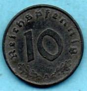 R80/ GERMANY  3° REICH   10  REICHS PFENNIG  1943 A Zinc