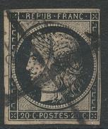 Lot N°34897  Variété/n°3, Oblit Cachet à Date, Cercle De Points, Barré A La Plume, Taches Blanches Sous Le Menton, Filet