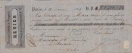 E5236 FRANCE FRANCIA. MENIER DRUG STORE PHARMACY 1865 - Cheques & Traveler's Cheques