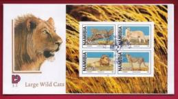 NAMIBIA, 1998, First Day Cover, Large Wild Cats, Min Sheet,Michel 3-02, F3904