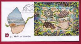 NAMIBIA, 1998, First Day Cover, Shells Of Namibia, Min Sheet, Michel 3-05, F3911
