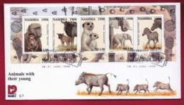 NAMIBIA, 1998, First Day Cover, Min Sheet,  Animals With Young, Michel 3-07, F3913