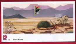 NAMIBIA, 1998, First Day Cover, Min Sheet,  Ilsapex Rhino, Michel 3-08, F3914