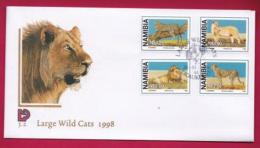 NAMIBIA, 1998, First Day Cover, Stamps, Large Wild Cats,  Michel 3-02, F3906