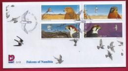 NAMIBIA, 1999, First Day Cover, Stamps, Falcons Of Namibia,  Michel 3-13, F3919