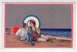Cartolina Illustrata Moda - Innamorati - Uomo - Donna - Spiaggia. Anni'20. Degami N.2256 - Fashion