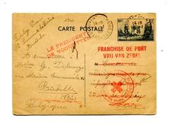 !!! ENTIER POSTAL DE 1940 POUR LE CENTRE DE RENSEIGNEMENT DES REFUGIES BELGES CACHET CROIX ROUGE BELGE - Postmark Collection (Covers)