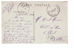 Marcophilie Cachet BM Boite Mobile Sur Carte Postale Moulins Cachet Le Breuil (allier) - Marcophilie (Lettres)