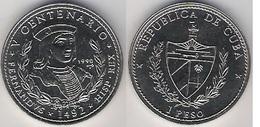 Cuba 1 Peso 1990 Ferdinand 1492 1992 V Centennary 500 Years Discovery UNC - Cuba