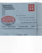 """Australie 1956 Entier Aérogramme Jeux Olympiques De Melbourne Voyagé Vers Les U.S.A """"préimprimé De Banque"""" (00126)"""