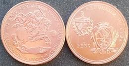 Cuba 1 Peso 1993 ND Saint Jacobi Santiago Millennium Horse Rider Copper UNC - Cuba