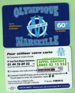 ATLAS TELECOM 60F *** FOOT OLYMPIQUE DE MARSEILLE *** Droit Au But *** Verso 1 *** Tirage 10000 Ex *** (A106-P17) - Prepaid Cards: Other