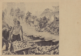 DEUTSCHLAND :1916: Not Travelled Feldpostcard: SOLDIERS,BUILDING, STONES,WHEELBARROW,HORSE,HORSEMAN,CANON,