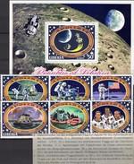 Apollo 14 USA-Flagge 1971 Liberia 777/2+Block 54 O 9€ Mondflug Astronauten-Crew S/s Flag Bloc Space Sheet Bf Africa