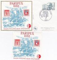 L4R050 FRANCE 1982 FDC + Bloc Paripex Paris  11-12 11 1982  / Envel.  Illus.