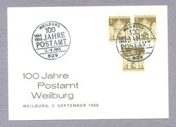 Germany, Deutschland, 1966, 100 Jahre Postamt Weilburg Ganzsache Sonderstempel - Posta