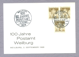 Germany, Deutschland, 1966, 100 Jahre Postamt Weilburg Ganzsache Sonderstempel